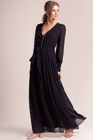 memdalet black long sleeve chiffon wrap maxi dress 59 free