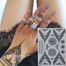 pretty temporary black henna tattoos waterproof women body tattoo