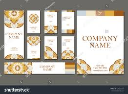 set business cards vintage pattern retro stock vector 534122377