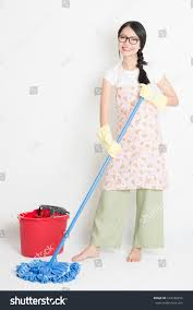 Carnation Home Cleaning Young Asian Woman Mopping Floor Water Stock Photo 544748254