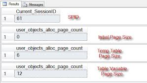 sql server difference temptable and table variable temptable