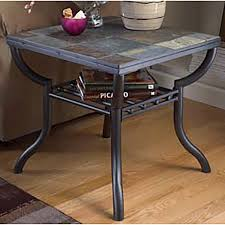 slate wood coffee table square end table slate and metal t233 2 ashley furniture afw