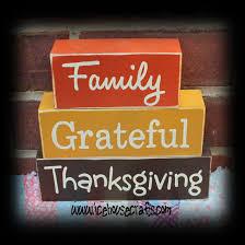 family grateful thanksgiving word wood block sitter sign