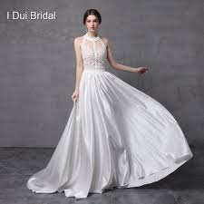 wedding dress suppliers aliexpress buy halter bare back beaded wedding dresses