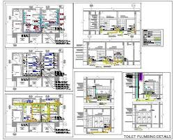toilet plumbing detail with pipes and fittings plan n design