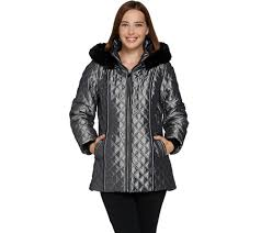 dennis basso quilted zip front jacket with hood faux fur trim