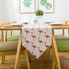 home decor table runner burlap linen table runner pink flamingo vintage frech style rustic