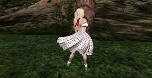 second life marketplace white and red retro polka dot dress