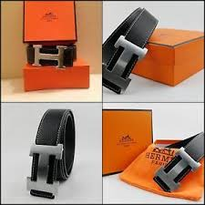 Christmas Gift Dad - reversible leather mens black hermes belt with silver buckle