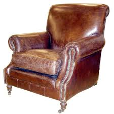 hand distressed leather chair in the english style at 1stdibs