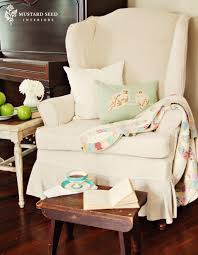 Matching Chair And Ottoman Slipcovers Decorating Affordable White Wing Chair Slipcover With Skirt With