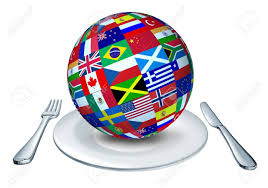 cuisine internationale international cuisine represented by a globe with flags from stock