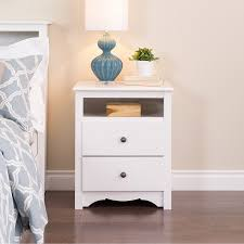Nightstand With Shelf Prepac Monterey Collection 2 Drawer Nightstand White