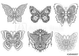 six butterflies design for tattoo design element t shirt design