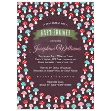 cute baby shower invitation with red pink and blue mushrooms