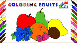 coloring page for kids coloring fruits learn fruits name and