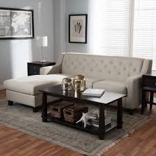 Tufted Upholstered Sofa by Baxton Studio Arcadia Light Beige Fabric Upholstered Button Tufted