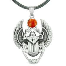 red leather necklace images Amulet egyptian scarab rebirth spiritual life magic powers red jpg