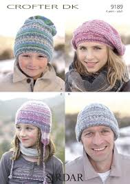 sirdar 9189 knitting pattern family hats in sirdar crofter dk