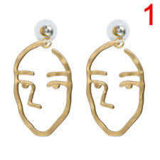 earrings s 1x retro abstract cutout dangle drop gold earrings