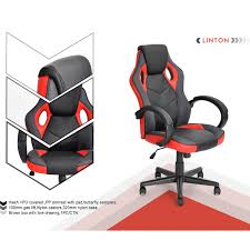 Computer Game Desk by Funiturer Executive Racing Style White Office Chair Pu Leather