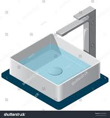 bathroom sink isometric basin tap water stock vector 389220808