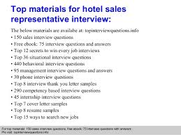 hotel sales representative interview questions and answers