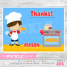 pizza making party boy personalized party invitation