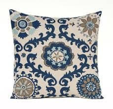 Pillow Covers 18 X 18 Navy Taupe Aqua On Linen Cushion Sofa
