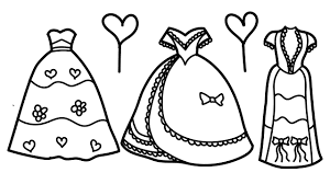 draw coloring page of pretty dresses paint coloring book for kids