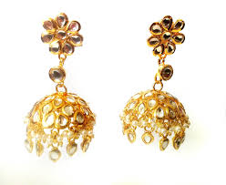 gold jhumka earrings gold pearl jhumka earrings kundan jhumkas large