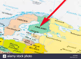 Map Pf Europe by Red Arrow Pointing Finland On The Map Of Europe Continent Stock