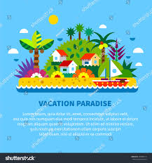 Exotic House Plans by House On Island Tropics Summer Vacation Stock Vector 260986514