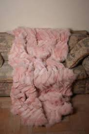 light pink fur blanket light pink fox paws fur blanket throw comfort softness saga furs