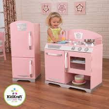 pretend kitchen furniture amazon com kidkraft retro kitchen and refrigerator in pink toys