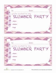 slumber invitations worksheet education