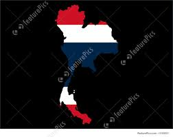 Map Of Thailand Illustration Of Map Of Thailand And Thai Flag