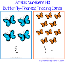free printable arabic numbers 1 10 butterfly themed tracing cards