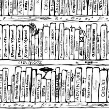 White Book Shelves by Book Shelves Repeat Black And White Fabric Art Rat Spoonflower