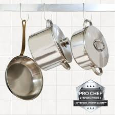 pro chef kitchen tools stainless steel pot rack hanging hook set of