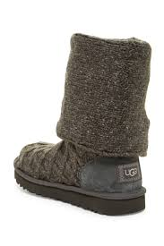 ugg emalie waterproof leather bootie nordstrom rack lyst ugg lattice cardy knit boot