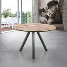 wood and metal round dining table modena round solid wood dining table with vintage metal legs