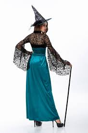 halloween masquerade ball lace shawl witch long dress with hat