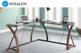 Mainstays Glass Top Desk by Whalen Newport Wood U0026 Glass L Shaped Desk Black Glass Desktop