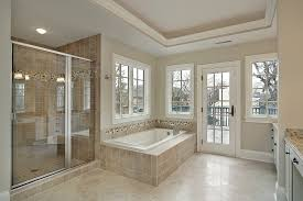 bathroom alcove tubs barred ceiling light beige stained wall