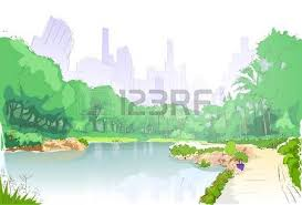 jungle forest green landscape with road path and blue sky vector