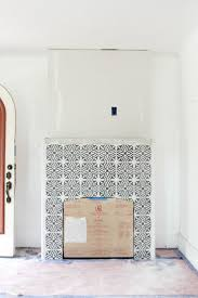 building a new fireplace patterned cement tile surround