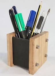 Modern Desk Tidy Oak Slate Design Pen Pot Desk Tidy Modern Contemporary Style