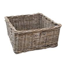 grey u0026 buff square rattan storage basket