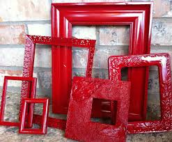 add red frames in a grey and white stripped entry gorgeous upcycled frames vintage red frames unique home decor by fefifofun